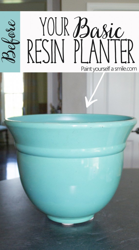 Blue Resin Planter Before and After Paint yoursefd a smile.com