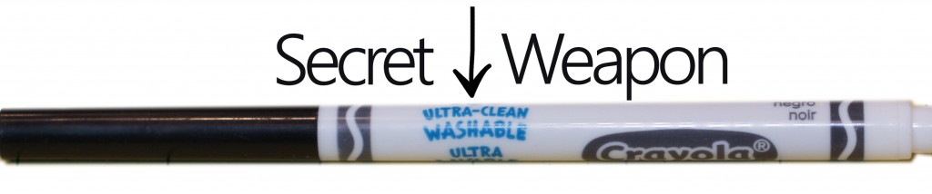 Ultra clean washable marker...perfect to make temporary marks that wipe clean. Plus tips for taping a curved surface
