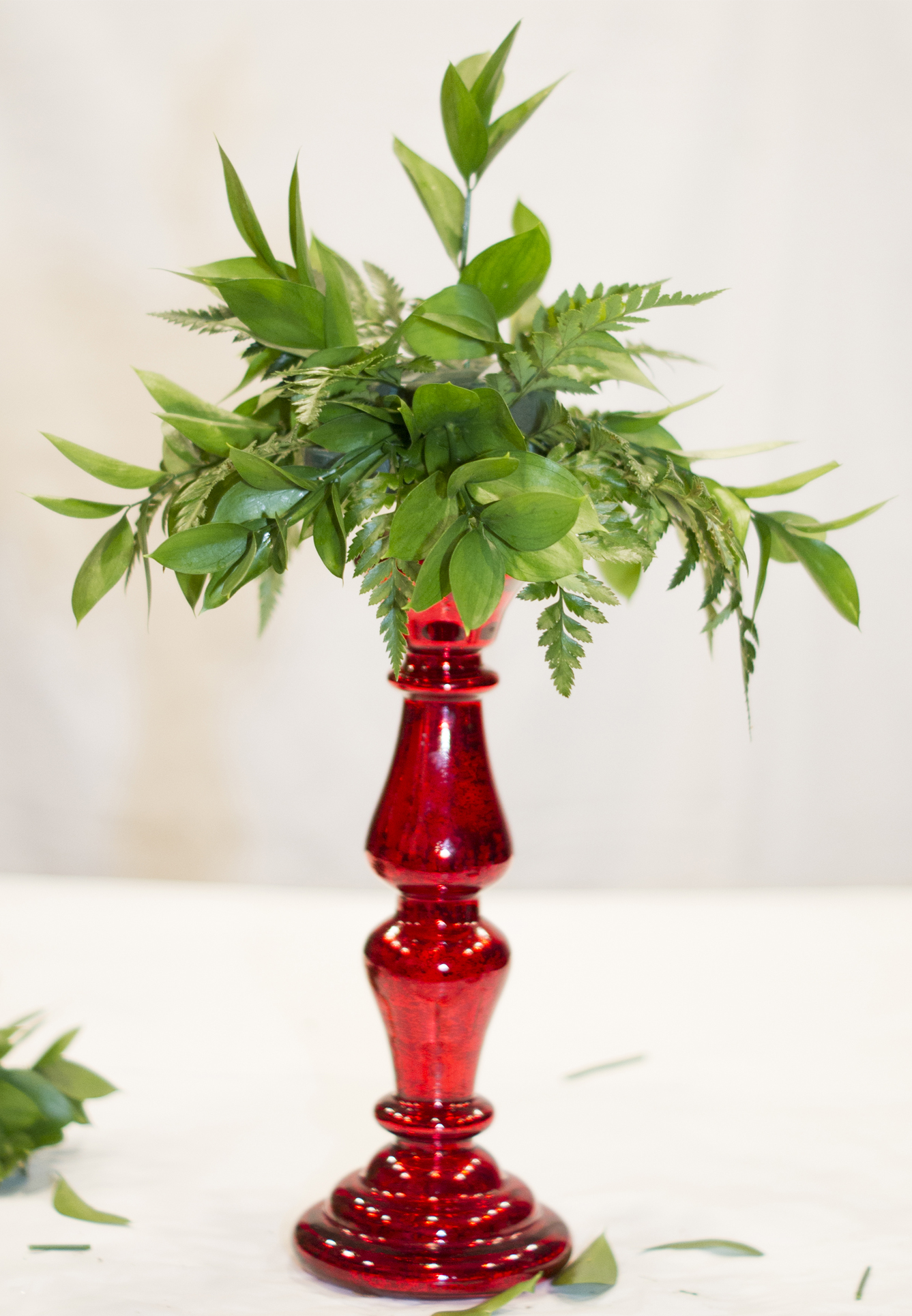 Italian ruscus in centerpiece