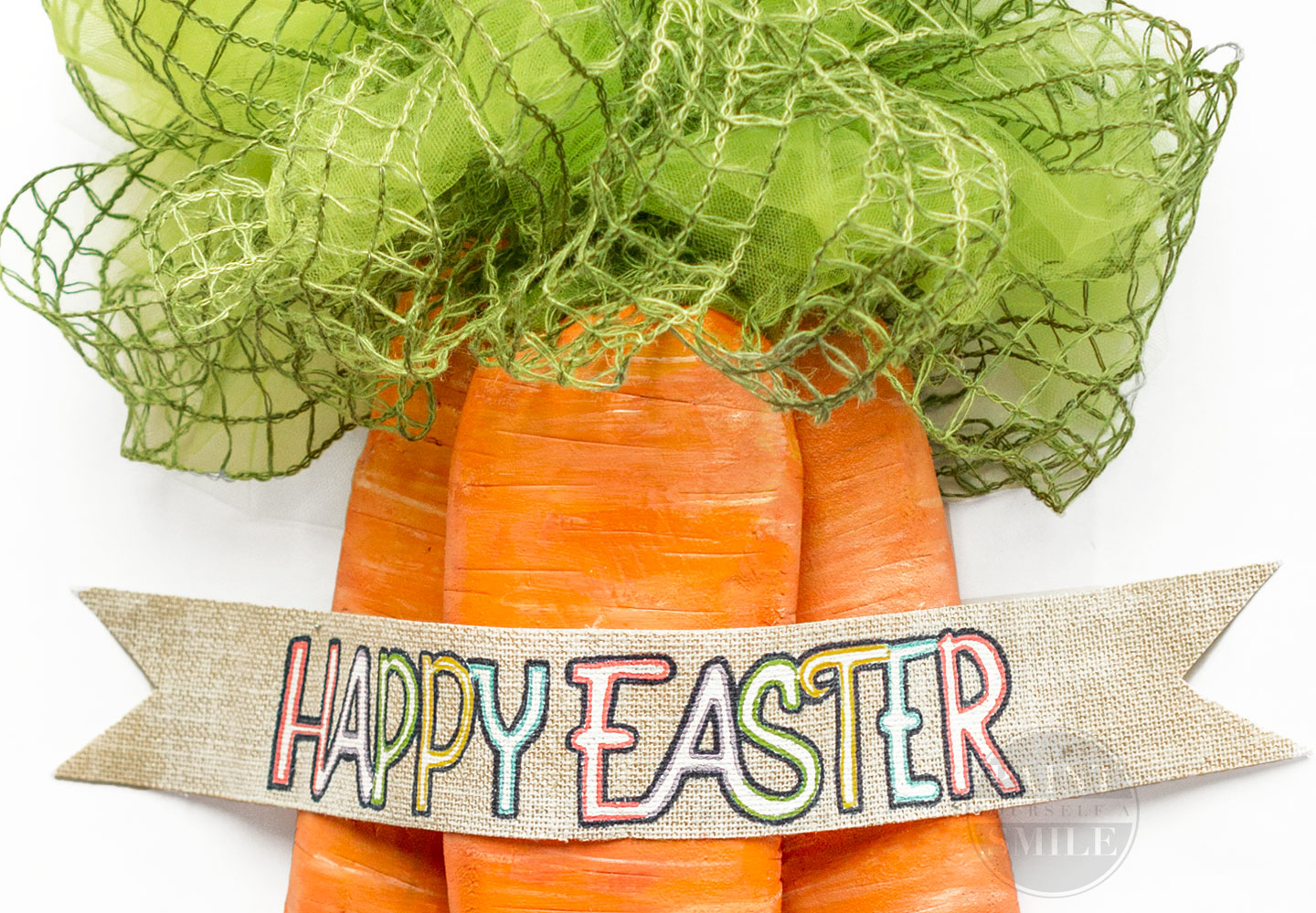 VERY FUN! A great tutorial to make Large Easter Carrots and Door Hanging Wreath. Fun Easter Door. Lots of pictures and step by step directions.