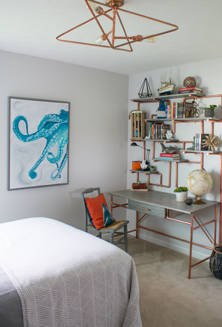 One Room Challenge Teen Bedroom Makeover Reveal Day! This room was done on a tight budget and is full of DIY projects to include ceiling light, shelves, desk, art, cornice box, and furniture!