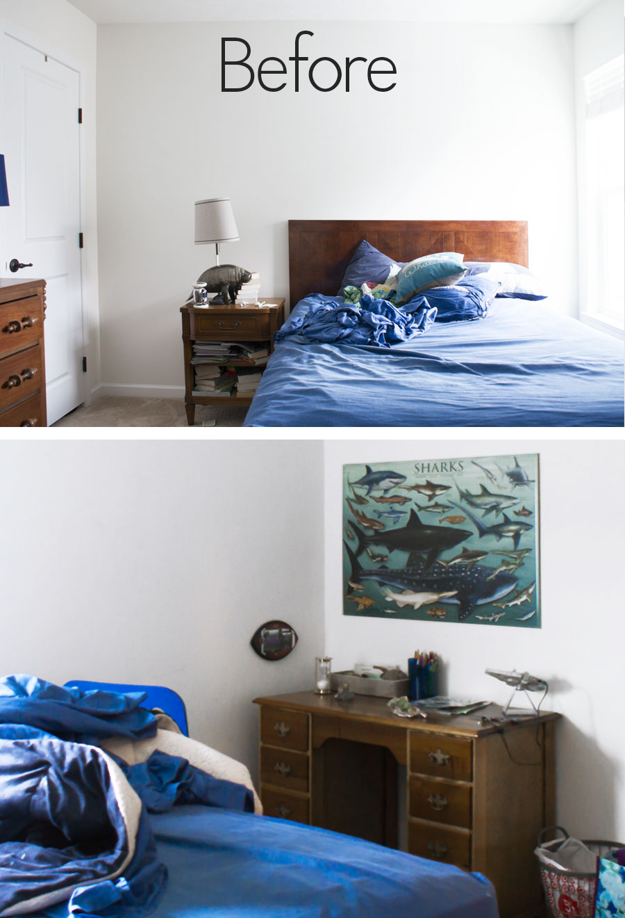 Fabulous DIY Nautical shark theme bedroom makeover with DIY copper Pipe Ceiling light, Copper Pipe desk and hand painted wall and art.