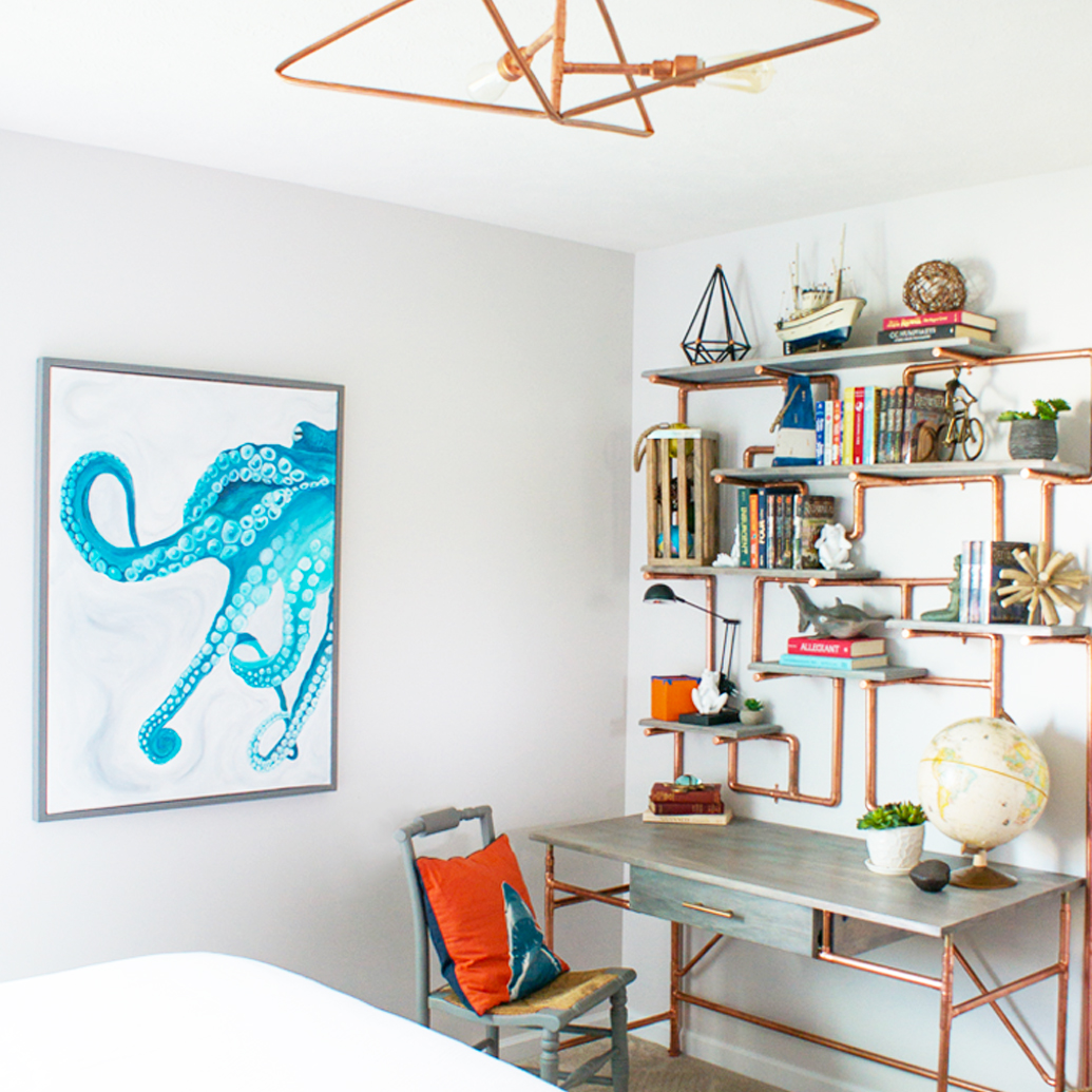 Kids Bedroom Makeover Reveal Day! DIY projects to include ceiling light, shelves, desk, art, cornice box, and furniture!