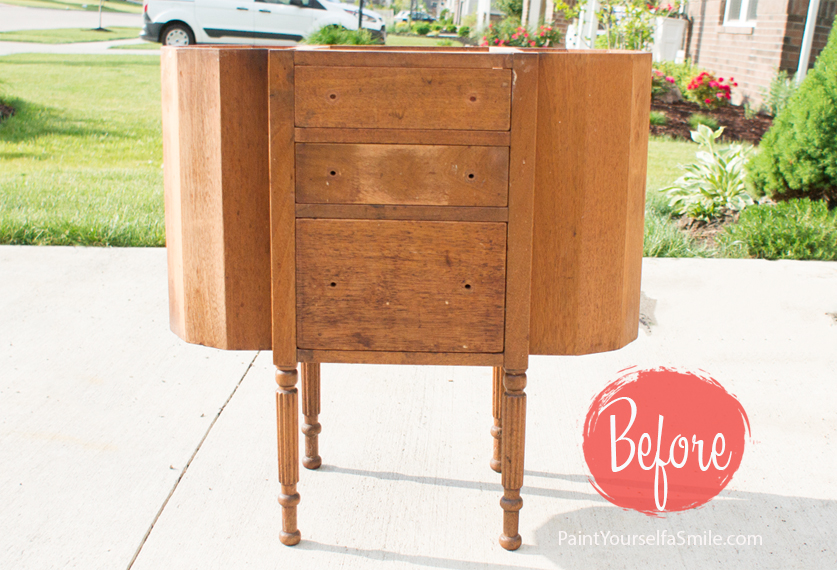 Old sewing cabinet gets upcylcled