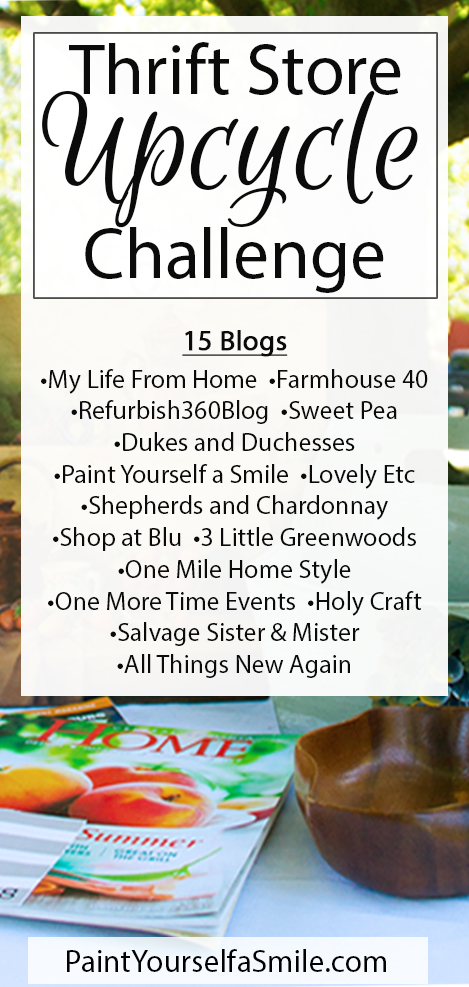 15 bloggers are challenged o upcycle thrift store items pre-selected and mailed to them.