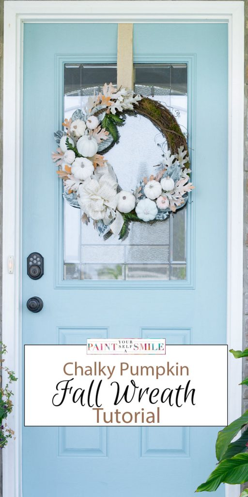 Step by step instructions to create this White Pumpkin Fall Wreath from PaintYourselfaSmile.com