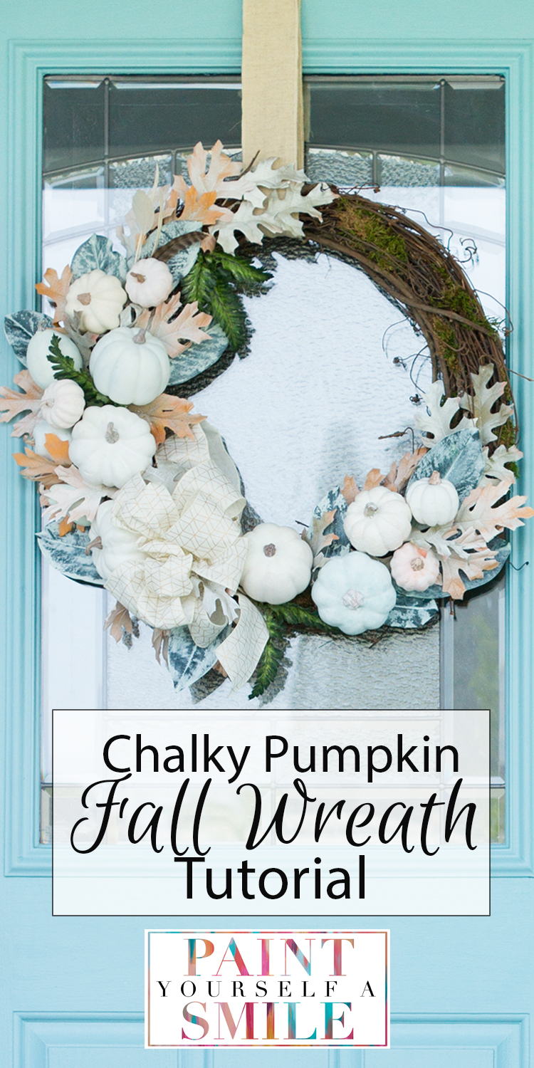 17 fall wreath tutorials including these step by step instructions to create this White Pumpkin Fall Wreath from PaintYourselfaSmile.com