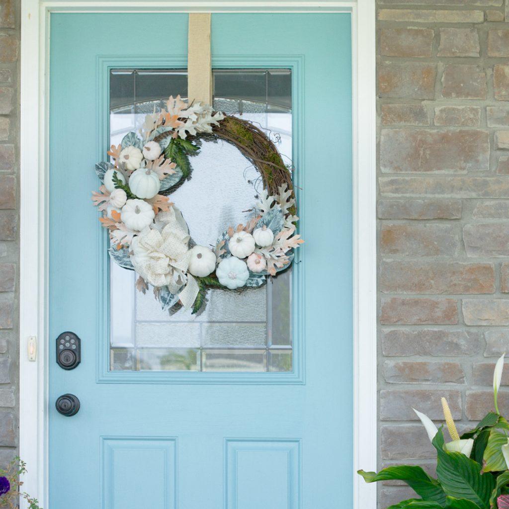 DIY White Pumpkin Fall Wreath