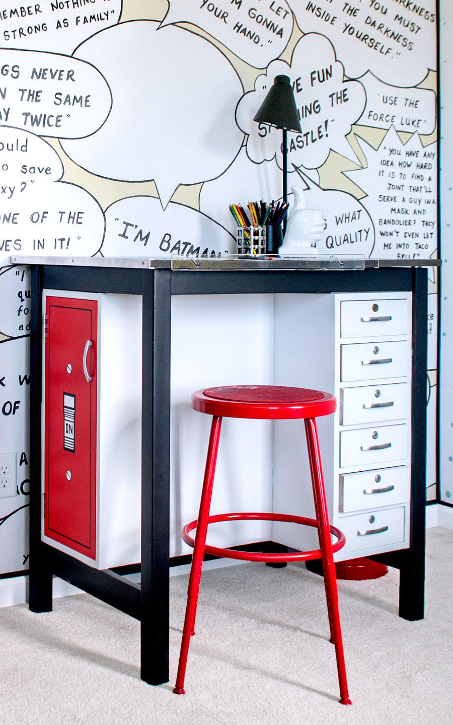 Comic pop art  Bedroom Makeover!! This room is full of fun walls and great DIY furniture all done in a pop art theme!!