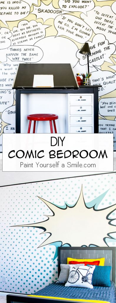 Wow! Unbelievable Kid's Bedroom Makeover. Comic Bedroom on a DIY budget!!  This room is full of fun DIY walls and great DIY furniture all done in a pop art comic theme!!