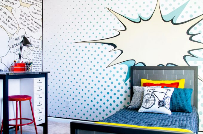 Wow! Fun Kids Bedroom Makeover on a small budget !! This room is full of creative walls and great DIY furniture all done in a pop art theme!!