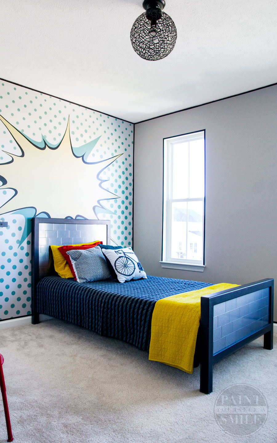 Wow! Fun Kids Bedroom Makeover on a small budget !! This teen bedroom is full of creative walls and great DIY furniture all done in a pop art theme!!