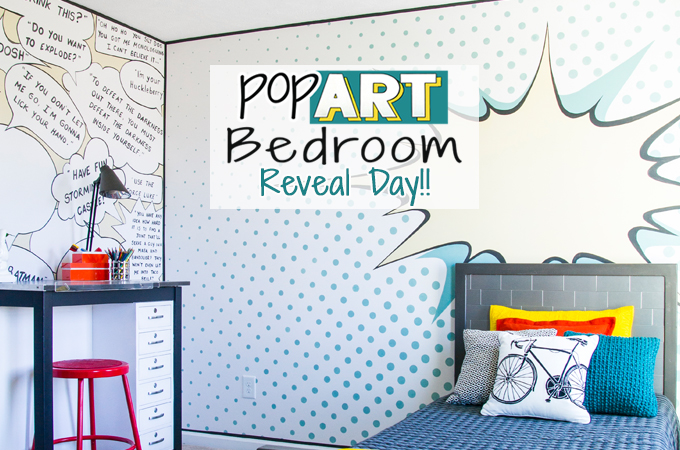 POP ART Bedroom Makeover!! This room is full of fun walls and great DIY furniture all done in a pop art theme!!