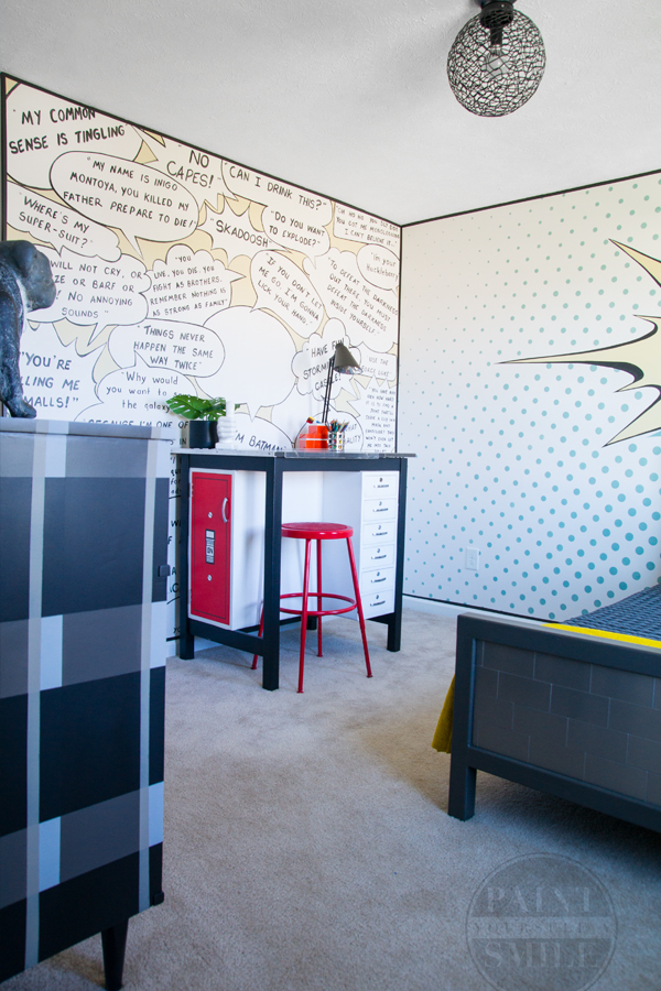 So Cool!! POP ART Bedroom Makeover!! Fun walls and great DIY furniture all done in a pop art theme!!