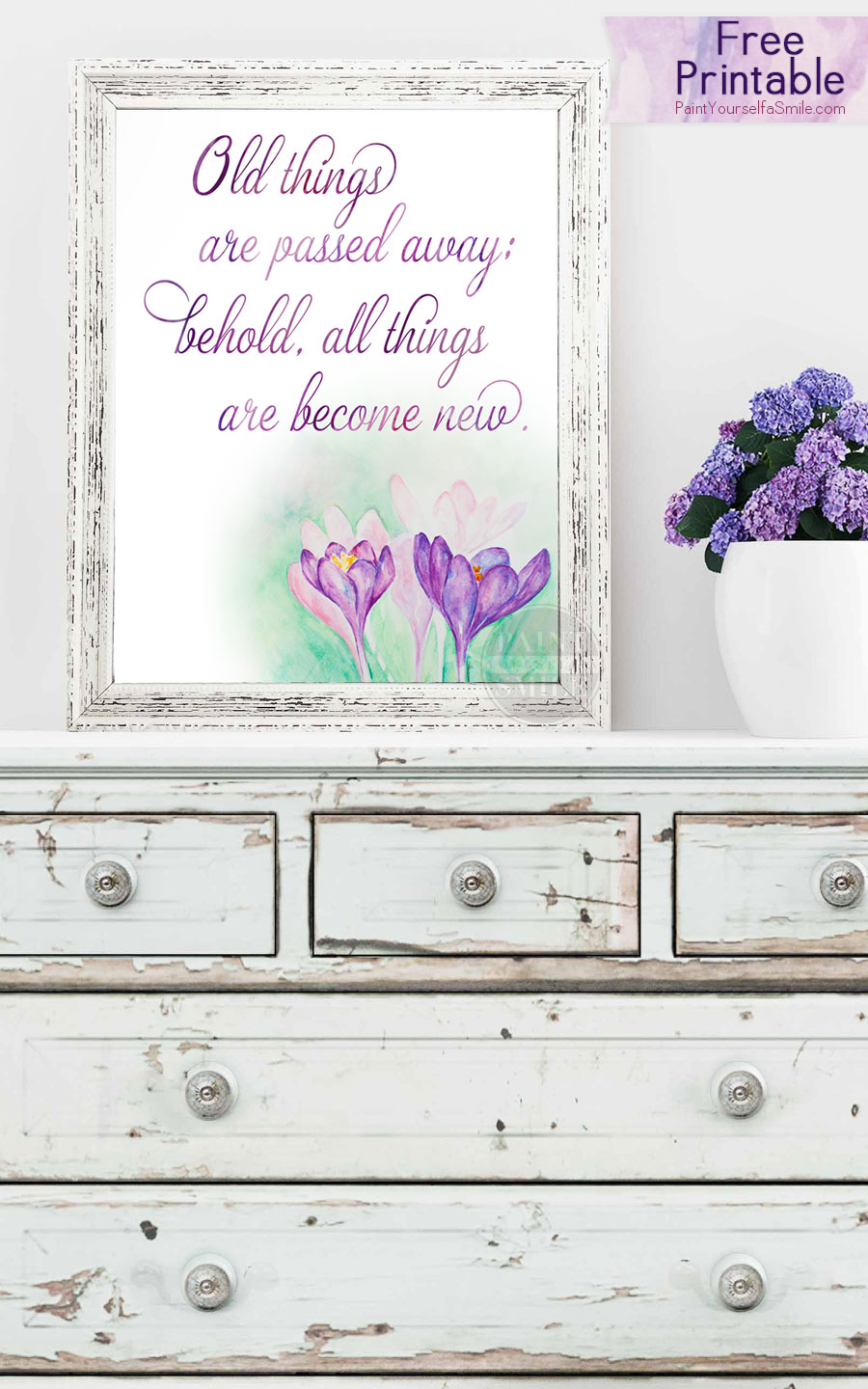 free spring flower watercolor printable all things are passed away behold all - Spring Pictures To Download