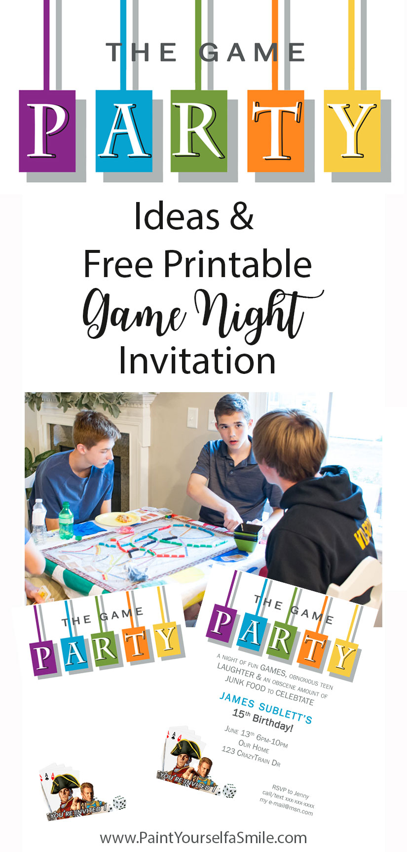 game party Invite! DIY Game Night Party Ideas and free invitation download.