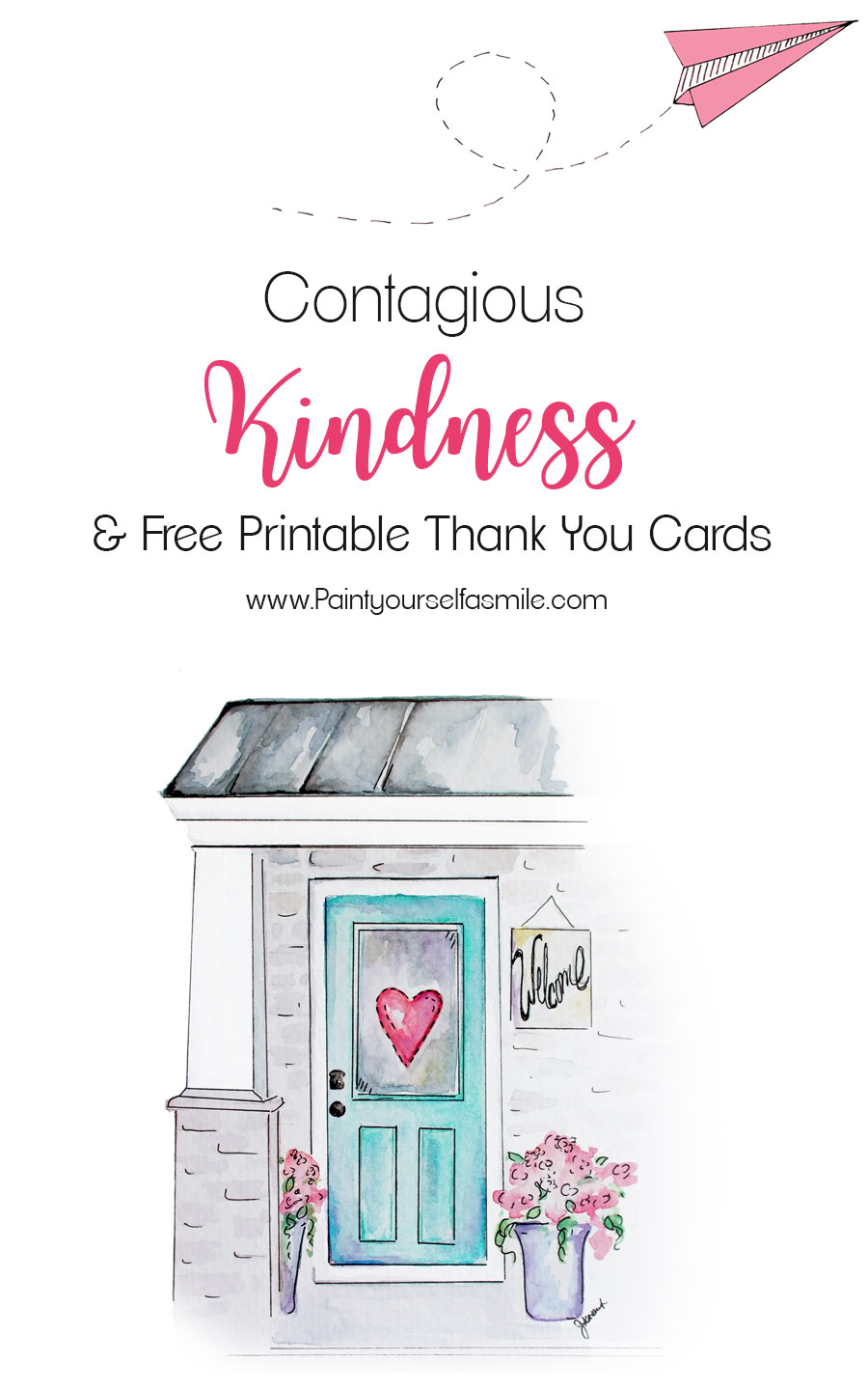 graphic about Free Printable Thank You titled Contagious Kindness Tags Totally free Printable Thank By yourself Playing cards