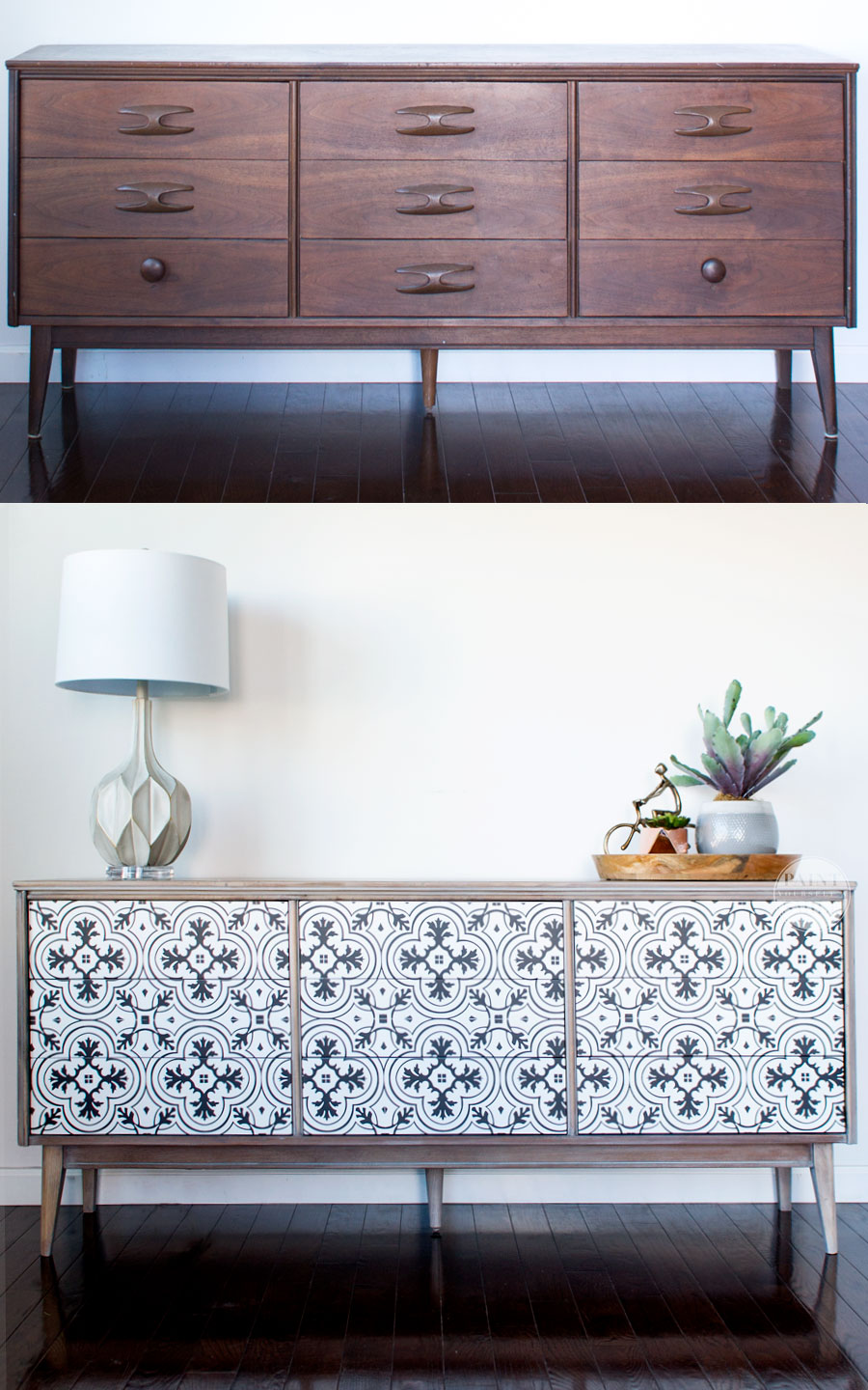 awesome diy mcm dresser buffet makeover using vintage cement tile pattern i love custom diy modern furniture makeover e22 furniture