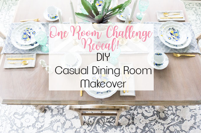 Kitchen Morning Room Makeover. Check out how to DIY a complete transformation on a super tight budget with this casual dining room budget makeover. One Room Challenge