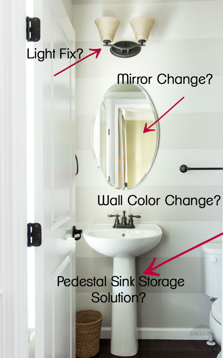 Makeover & refresh of this small half bathroom on a tight budget. $100 makeover challenge bathroom ideas