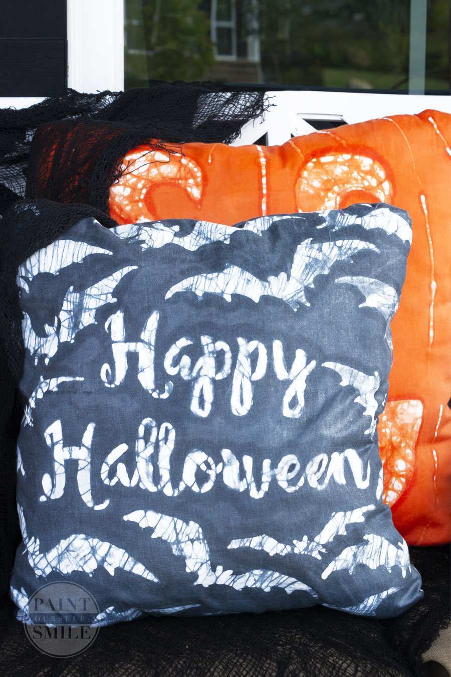 How to create fun Halloween Pillows using an easy batik wax technique