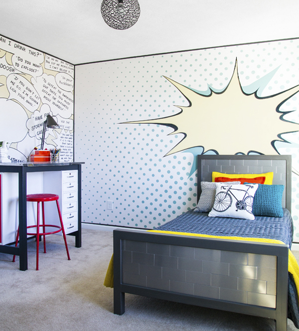 Amazing POP ART Bedroom Makeover!!  This room is full of fun walls and great DIY furniture all done in a pop art theme!!
